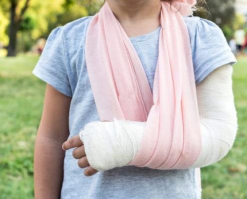 Broken bones after car accident